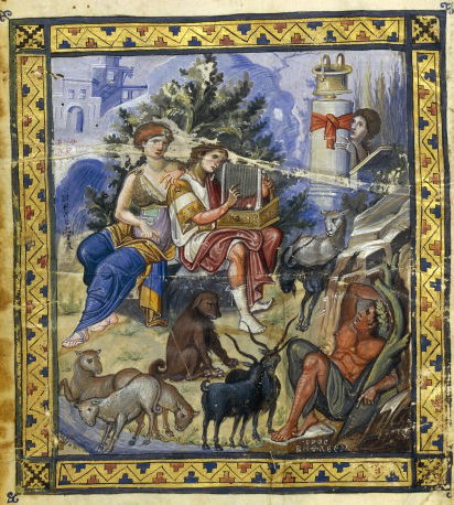 David beim Psalmodieren. Paris. gr. 139, f. 1v